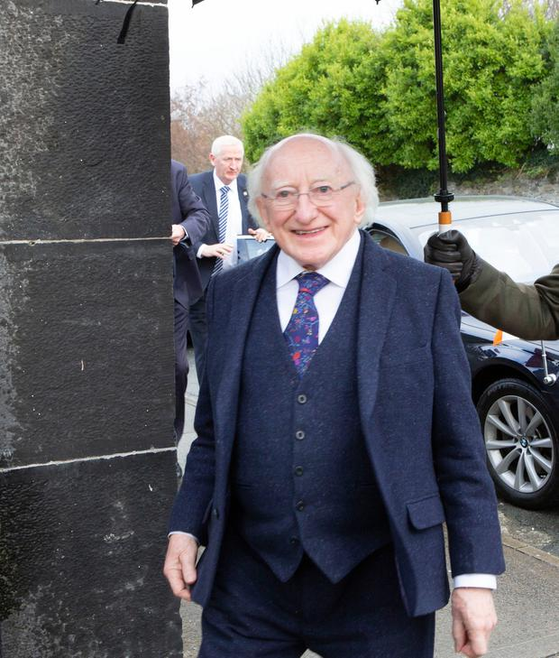 Mícheál Ó Súilleabháin's funeral mass took place in St Senan's Church, Kilrush this Monday morning and the President Michael D. Higgins attended. Photograph Liam Burke Press 22