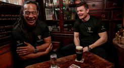 All Black together: Brian O'Driscoll and Tana Umaga were re-united in Dublin ahead of Ireland's Guinness Series clash against New Zealand as part of Guinness's #AnswerIrelandsCall campaign. Photo: Dan Sheridan/INPHO