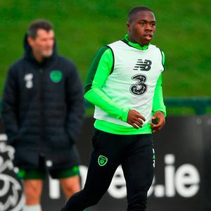Michael Obafemi and assistant manager Roy Keane. Photo: Stephen McCarthy/Sportsfile