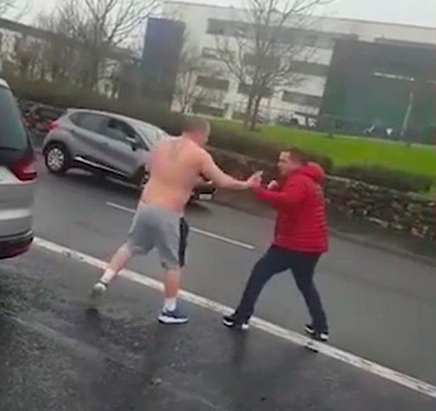 Fight: A still from the video of a brawl between two men outside a Galway Garda station earlier this month