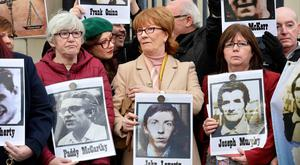 Truth: Relatives of those who died in the Ballymurphy shootings outside the inquest in Belfast