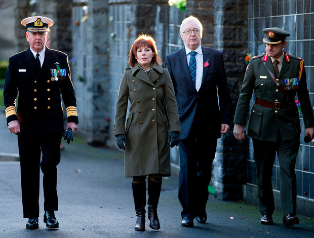 Harrowing: Culture Minister Josepha Madigan at the commemorations in Glasnevin. Pic: Maxwell's
