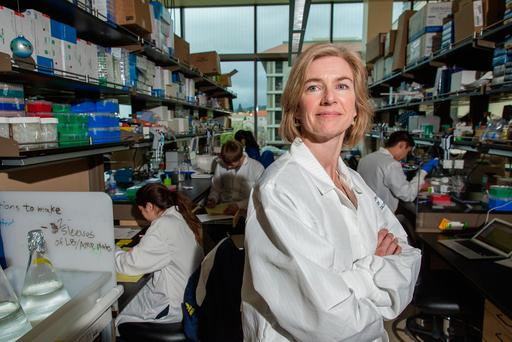 Jennifer Doudna, inventor of the revolutionary gene-editing tool CRISPR photographed in the Li Ka Shing Center on the Campus of the University of California, Berkeley. MPhoto: Nick Otto For The Washington Post via Getty Images