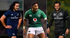 Bundee Aki (centre) will be joined by James Lowe (left) and Jamison Gibson-Park (right) in the Irish ranks in coming seasons