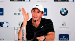 Rory McIlroy speaks to the media during a press conference prior to the DP World Tour Championship at Jumeirah Golf Estates today