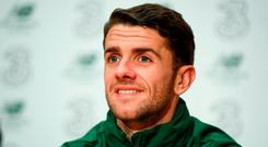 Robbie Brady during a Republic of Ireland press conference at the FAI National Training Centre in Abbotstown, Dublin. Photo by Stephen McCarthy/Sportsfile