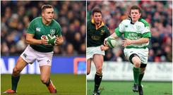Jordan Larmour (left) and Brian O'Driscoll (right).