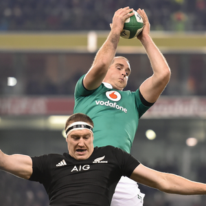 19 November 2016; Devin Toner of Ireland wins a lineout from Brodie Retallick of New Zealand during the Autumn International match between Ireland and New Zealand at the Aviva Stadium in Dublin. Photo by Brendan Moran/Sportsfile