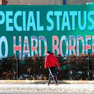A Sinn Féin billboard in west Belfast calling for a special status for Northern Ireland with respect to Brexit and no hard borders in Ireland. Photo: AFP/Getty Images
