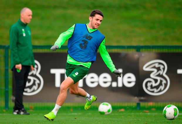 Back on the ball: Robbie Brady going through is paces during training at Abbotstown yesterday. Photo: Stephen McCarthy/Sportsfile