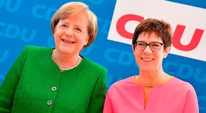 Differences on policy: German Chancellor Angela Merkel with her would-be successor as CDU leader, Annegret Kramp-Karrenbauer. Photo: AFP/Getty Images