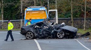 The wreckage of the Audi A6 on Killala Road in Co Mayo in which two died. Picture: Paul Mealey