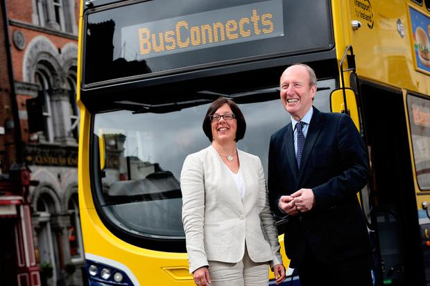Transport Minister Shane Ross with NTA chief executive Anne Graham at the BusConnects launch. Picture credit/Julien Behal