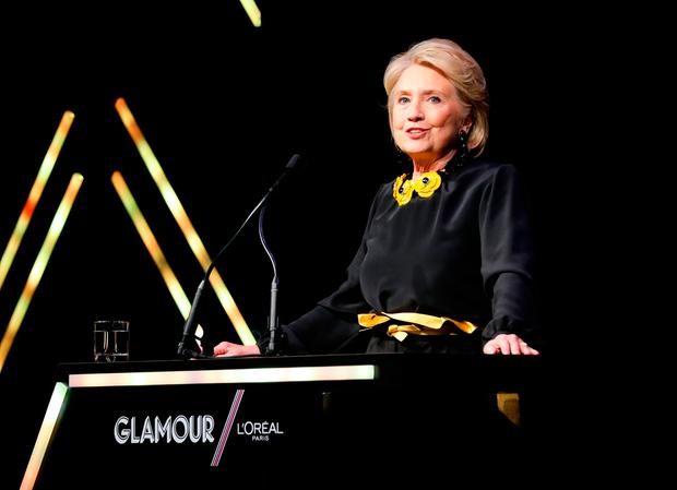 Will she, won't she?: Hillary Clinton speaks at the 2018 Glamour Women Of The Year Awards earlier this week in New York. Photo: Cindy Ord/Getty Images for Glamour