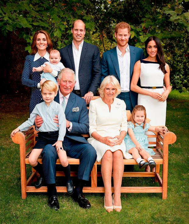 In this handout image provided by Clarence House, HRH Prince Charles Prince of Wales poses for an official portrait to mark his 70th Birthday in the gardens of Clarence House, with Their Royal Highnesses Camilla Duchess of Cornwall, Prince Willliam Duke of Cambridge, Catherine Duchess of Cambridge, Prince George, Princess Charlotte, Prince Louis, Prince Harry Duke of Sussex and Meghan Duchess of Sussex, on September 5, 2018 in London, England. (Photo by Chris Jackson / Clarence House via Getty Images)