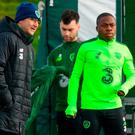 Republic of Ireland manager Martin O'Neill and Michael Obafemi during a Republic of Ireland training session at the FAI National Training Centre in Abbotstown. Photo by Stephen McCarthy/Sportsfile