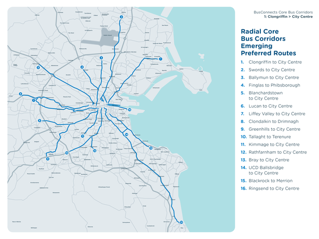 Radial core bus corridors preferred routes