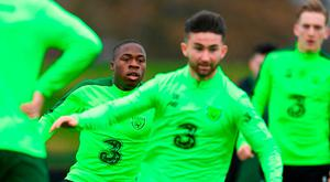 Michael Obafemi, left, and Sean Maguire during a Republic of Ireland training session at the FAI National Training Centre in Abbotstown, Dublin. Photo by Stephen McCarthy/Sportsfile