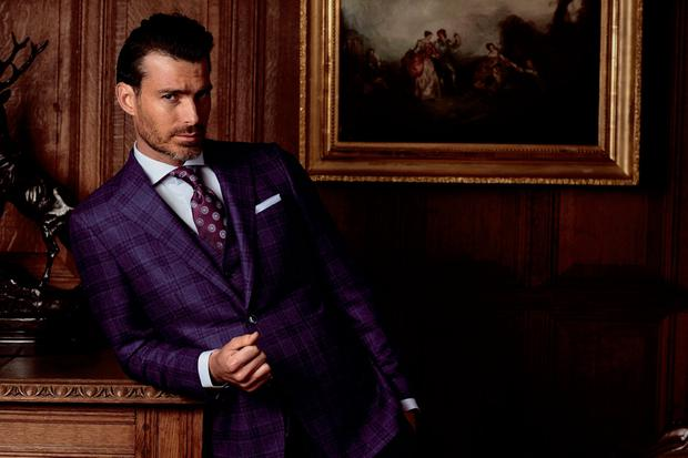 Louis Copeland Collection blue boxcheck three-piece suit, €1,249; blue hairstripe cotton slim-fit shirt, €139 and plum silk tie by Canali, €110. Photo: Daniel Holfeld