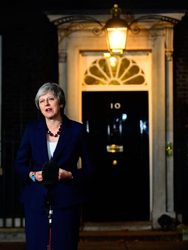 Prime Minister Theresa May makes a statement outside 10 Downing Street, London, confirming that Cabinet has agreed the draft Brexit withdrawal agreement. PRESS ASSOCIATION Photo. Picture date: Wednesday November 14, 2018. See PA story POLITICS Brexit. Photo credit should read: Victoria Jones/PA Wire