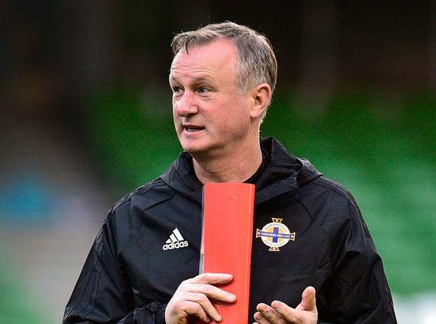 Northern Ireland manager Michael O'Neill looks on during training at the Aviva Stadium. Photo: Matt Browne/Sportsfile