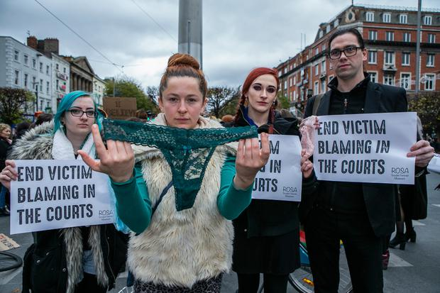 United: Katie Riley, Sarah Keogh, Deirdre Lynam and Sebastian Dooris, all from Dublin, make their point in O'Connell Street yesterday. Photo: Kyran O'Brien
