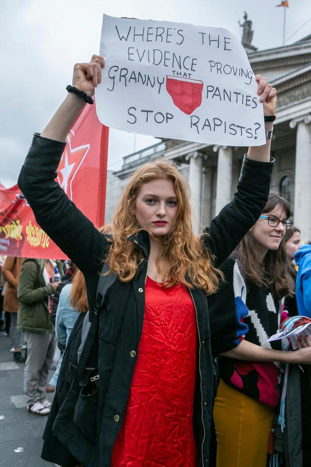 March: Aine O'Gorman from Tipperary protests in O'Connell Street, Dublin. Photo: Kyran O'Brien