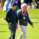 27 September 2016; Rory McIlroy of Europe with Paul McGinley during a practice session ahead of The 2016 Ryder Cup Matches at the Hazeltine National Golf Club in Chaska, Minnesota, USA. Photo by Ramsey Cardy/Sportsfile