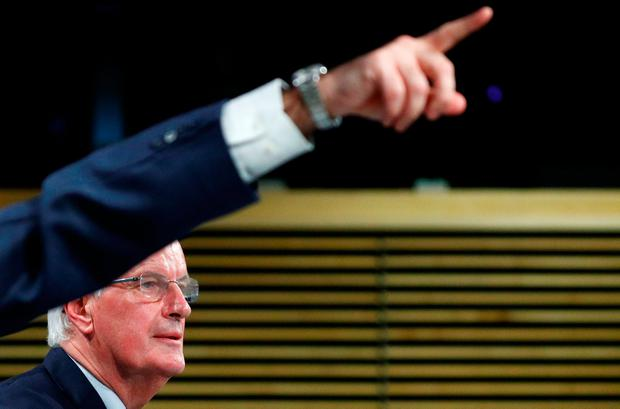 Response: Brexit negotiator Michel Barnier delivers a statement in Brussels after Theresa May's cabinet meeting. Photo: REUTERS/Francois Lenoir