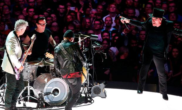 Mysterious ways: Bono, The Edge, Adam Clayton and Larry Mullen Jr perform at the 3Arena in Dublin. Photo: Steve Humphreys