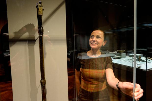 Preserved: Catherine Heaney, of the board of the National Museum of Ireland, with the Prosperous Crozier. Photo: Justin Farrelly