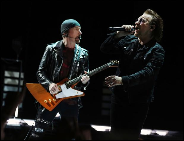 The Edge and Bono perform for U2's legion of fans. Photo: Steve Humphreys