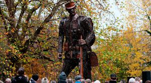 Remembrance: 'The Haunting Soldier' – depicting a weary World War I soldier – stands six metres high in St Stephen's Green, Dublin. It commemorates the centenary of the ending of the war. Photo: Brian Lawless/PA