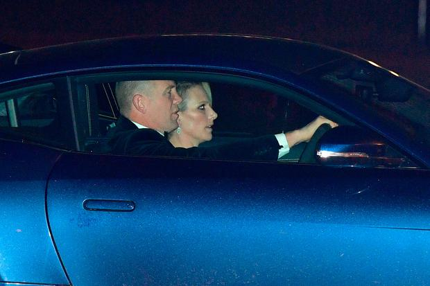 Zara Phillips and Mike Tindall arrive at Buckingham Palace in London for the Prince of Wales' 70th birthday party
