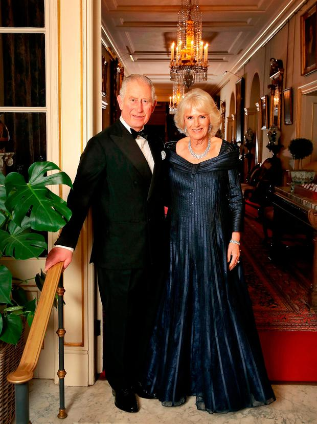 Handout photo provided by Clarence House of the Prince of Wales and the Duchess of Cornwall leaving Clarence House to attend a party at Buckingham Palace for Chares' 70th birthday party