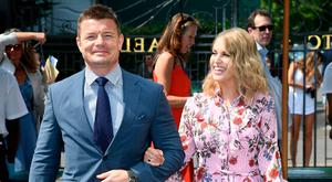 Brian O'Driscoll and wife Amy Huberman attend day five of the Wimbledon Tennis Championships at the All England Lawn Tennis and Croquet Club on July 6, 2018 in London, England. (Photo by Karwai Tang/WireImage )