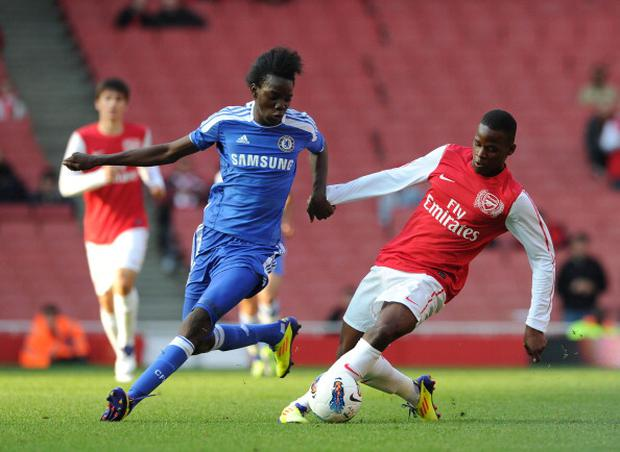 A 16 year old Bertrand Traore plays for Chelsea Youths against Arsenal. (Photo by David Price/Arsenal FC via Getty Images)