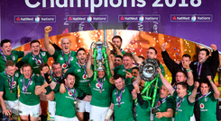 The Ireland rugby team celebrate their Six Nations Grand Slam success