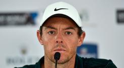 Rory McIlroy of Northern Ireland gives a press conference two days ahead of the DP World Tour Championship golf tournament in Dubai, United Arab Emirates, Tuesday, Nov. 13, 2018. McIlroy said on Tuesday that he intends to play only two full-field European Tour events in the first half of 2019 because of changes in the tournament schedule. (AP Photo/Kamran Jebreili)