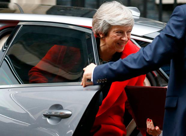 Britain's Prime Minister, Theresa May, arrives back at 10 Downing Street, in London, Britain November 15, 2018. REUTERS/Henry Nicholls