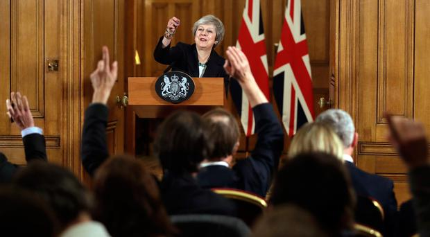 Prime Minister Theresa May holds a press conference at 10 Downing Street, London, to discuss her Brexit plans Credit: Matt Dunham/PA Wire