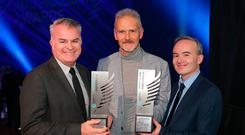 15/11/2018, From left to right are David Courtney, INM Head of Sport, Vincent Hogan, Irish Independent, Sports Story of the Year and Sports writer, Broadsheet, winner and Shane Scanlon, Sports Editor Irish Independent, at the Newsbrands Ireland Journalism Awards 2018 at the Mansion House, Dublin. Pic credit; Damien Eagers / INM