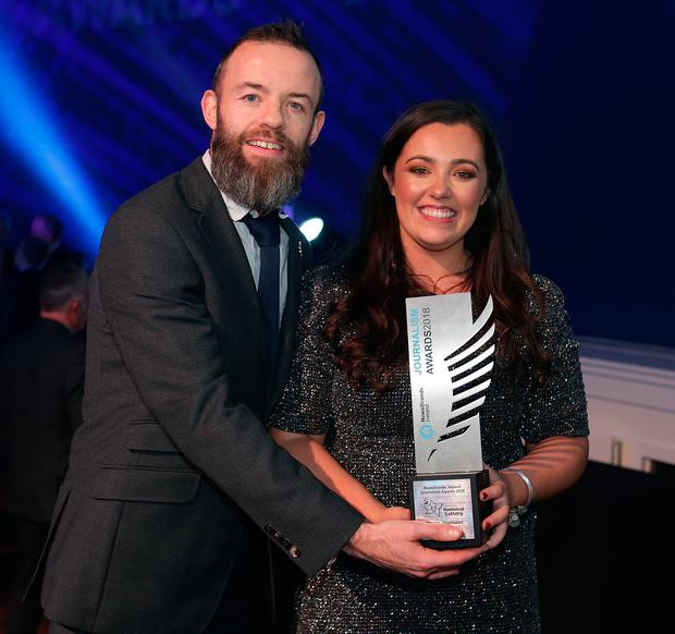 Amy Molloy, Independent.ie, Young Journalist winner, with Jason O'Brien, Independent.ie editor at the Newsbrands Ireland Journalism Awards 2018 at the Mansion House, Dublin. Pic credit; Damien Eagers / INM