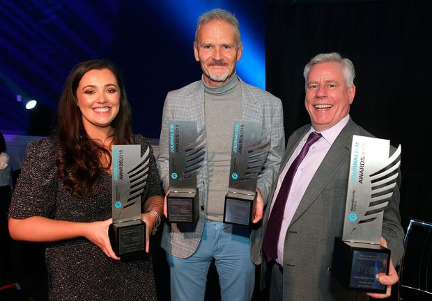 From left to right are Amy Molloy, Independent.ie, Young Journalist winner; Vincent Hogan, Irish Independent Sports Story of the Year and Sports writer Broadsheet; and Charlie Weston, Irish Independent, Campaigning Journalism winner at the Newsbrands Ireland Journalism Awards 2018 at the Mansion House, Dublin. Pic credit; Damien Eagers / INM