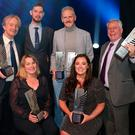 Clockwise from left are INM journalists, Barry Egan (Showbiz Journalist of the Year), Wayne O'Connor (Investigative Journalism), Vincent Hogan (Sports Story of the Year and Sports writer Broadsheet), Charlie Weston (Campaigning Journalism), Amy Molloy (Young Journalist of the Year) and Maeve Sheehan (Investigative Journalism) at the Newsbrands Ireland Journalism Awards 2018 at the Mansion House, Dublin. Pic credit; Damien Eagers / INM
