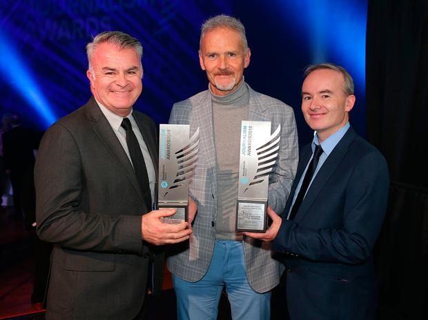 From left to right are David Courtney, INM Head of Sport, Vincent Hogan, Irish Independent, Sports Story of the Year and Sports writer Broadsheet winner and Shane Scanlon, Sports Editor Irish Independent, at the Newsbrands Ireland Journalism Awards 2018 at the Mansion House, Dublin. Pic credit; Damien Eagers / INM
