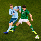 15 November 2018; Robbie Brady of Republic of Ireland in action against Steven Davis of Northern Ireland during the International Friendly match between Republic of Ireland and Northern Ireland at the Aviva Stadium in Dublin. Photo by Eóin Noonan/Sportsfile