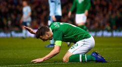 15 November 2018; Seamus Coleman of Republic of Ireland reacts to a referee decision during the International Friendly match between Republic of Ireland and Northern Ireland at the Aviva Stadium in Dublin. Photo by Seb Daly/Sportsfile