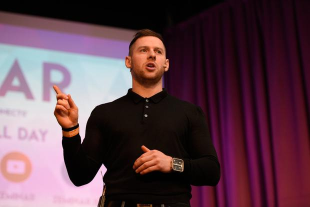Keynote speaker: Dublin football star Philly McMahon talked of how 'suffering makes you stronger' at the Zeminar youth forum at the RDS yesterday. Photo: David Gannon Photography