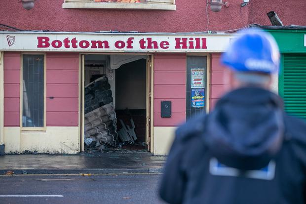 Sad sight: Finglas's Bottom Of The Hill pub sits gutted by the fire which took hold early yesterday morning. Picture: Kyran O'Brien